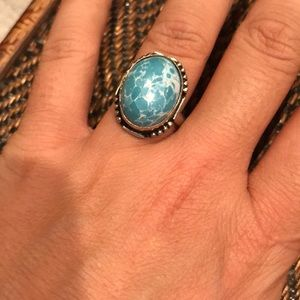 Jewelry - 💰SOLD-Turquoise agate silver statement boho ring